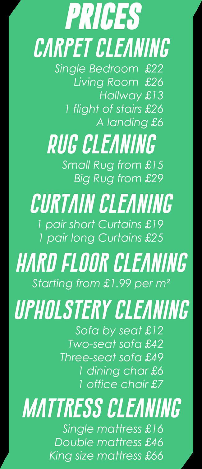 Carpet Cleaners Harpenden S Price List